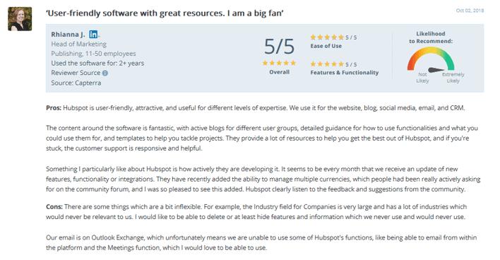 HubSpot Customer Support Reviews-5 - capterra