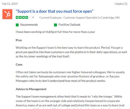 HubSpot Customer Support Reviews-6 - glassdoor