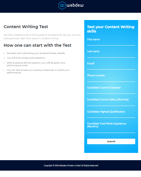 HubSpot Landing Pages - For Content Writing Test