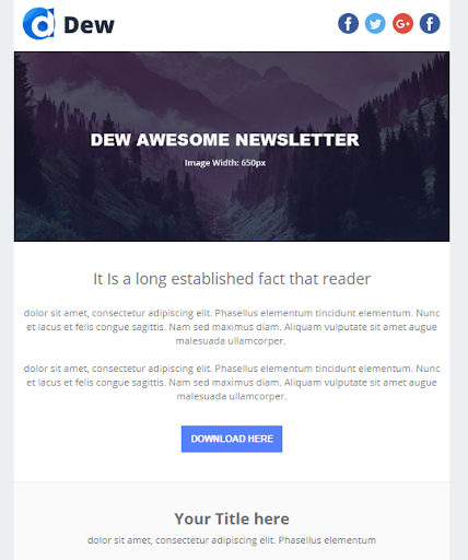 Hubspot Marketplace - Dew Email Template Version 1