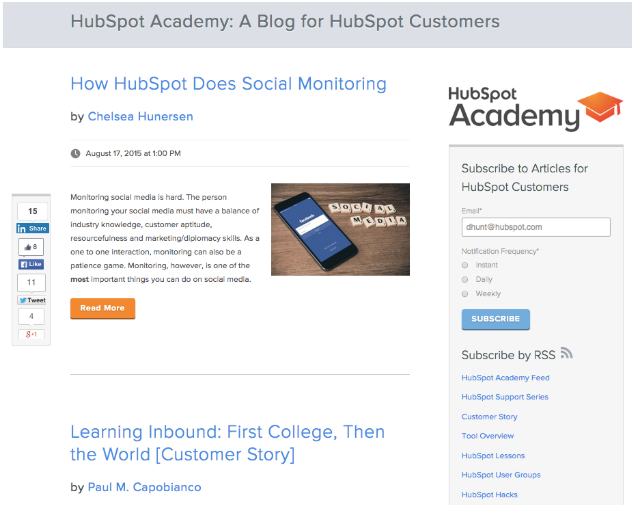 Hubspot page listing