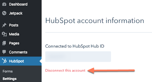 Hubspot Plugin For Wordpress Disconnect Account