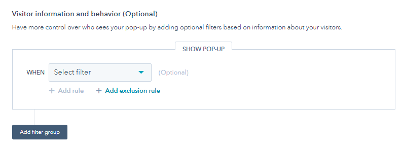 Hubspot Pop Up Forms Add Filter Button