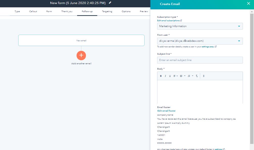 Hubspot Pop Up Forms Edit Email Footer