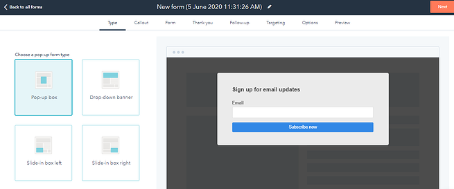Hubspot Pop Up Forms Left Sidebar