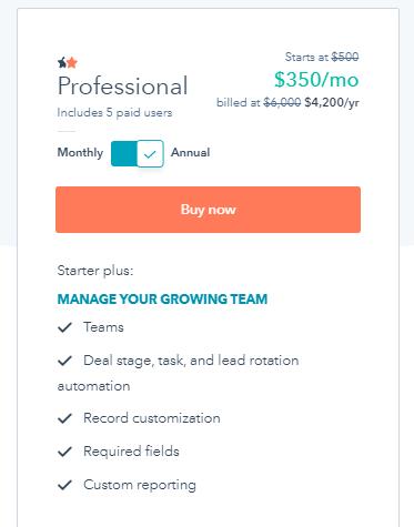 Hubspot Sales Hub Pricing Professional