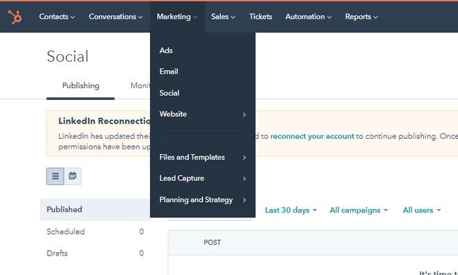 Hubspot Social Tool Account
