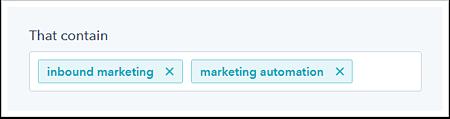 Hubspot Social Tool Separate Multiple Keywords