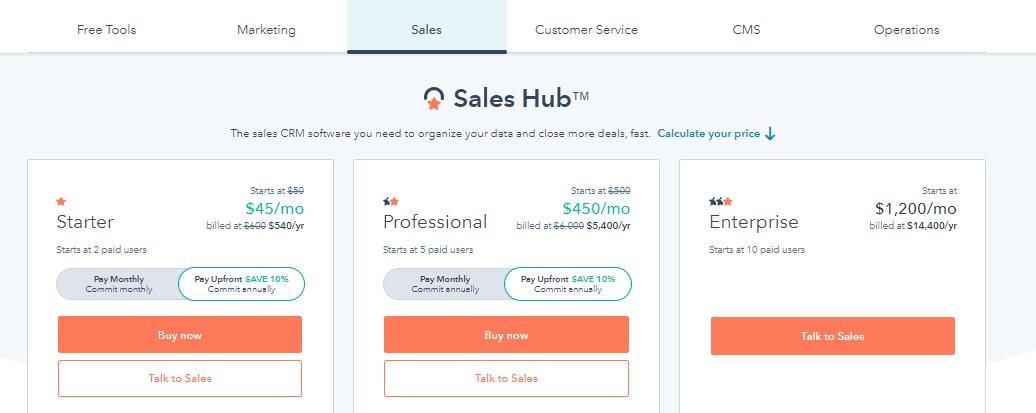 sales hub pricing
