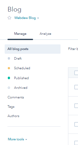 Manage blog in hubspot