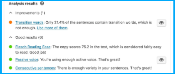 Readability results