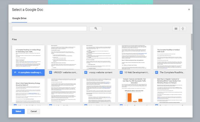 select google doc