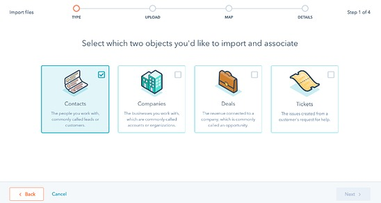 Select objects to import