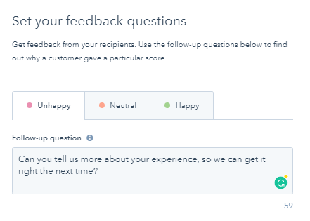 set your feedback questions