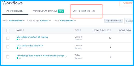 Unused Workflow Tab