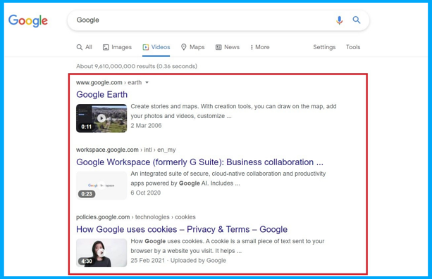 Videos improve search ranking