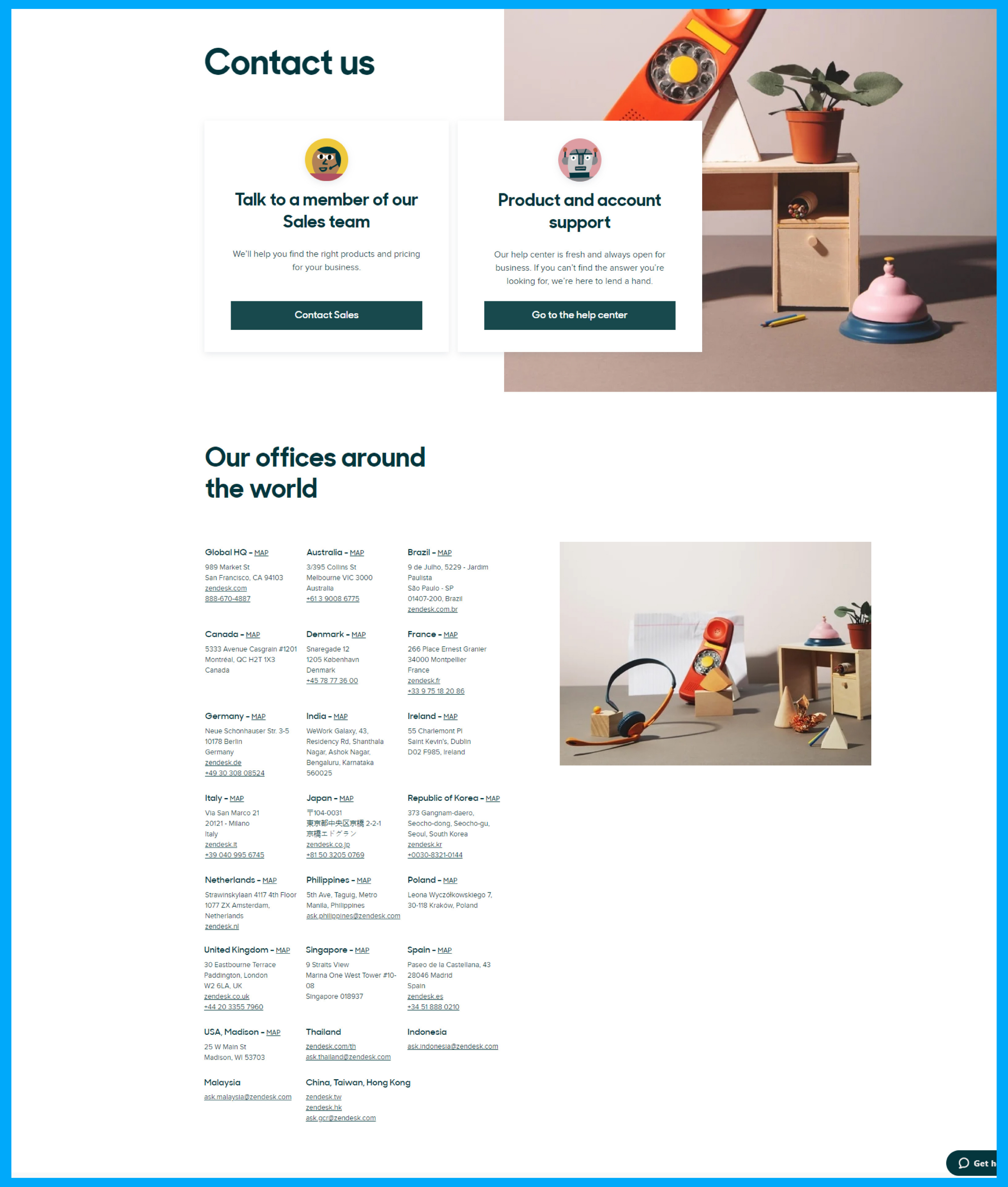 Zendesk contact us page