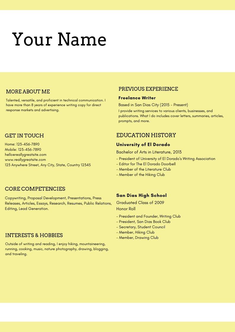 Content Marketing Resume Sample