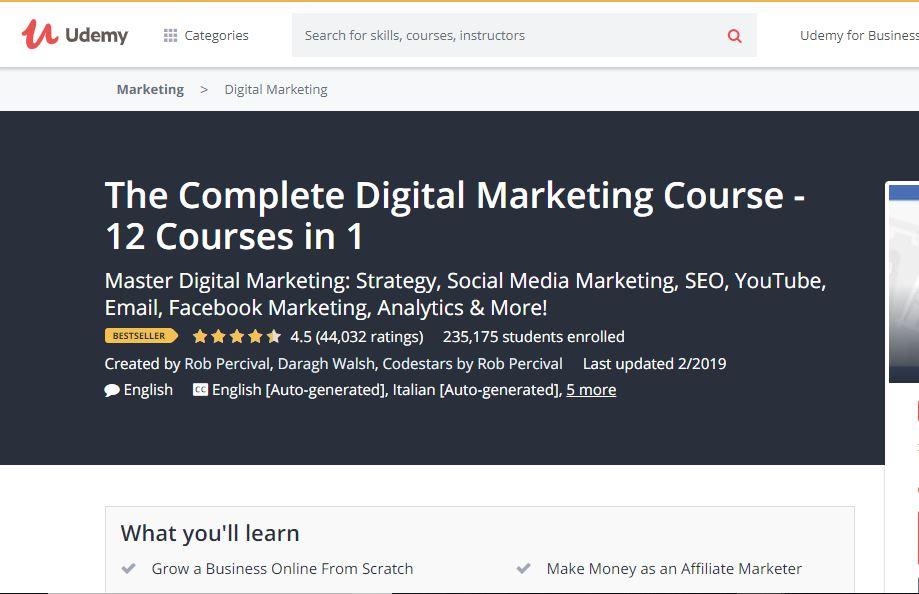 Udemy Digital Marketing Course